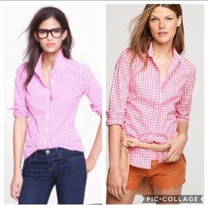 J Crew Perfect Shirt Pink White Check Gingham